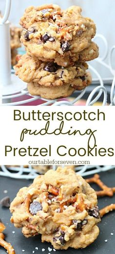 Sweet and salty goodness! Soft butterscotch cookies loaded with pretzels and cho. - Sweet and salty goodness! Soft butterscotch cookies loaded with pretzels and chocolate chips. Pudding Desserts, Pudding Cookies, Köstliche Desserts, Yummy Cookies, Yummy Treats, Delicious Desserts, Sweet Treats, Dessert Recipes, Yummy Cookie Recipes