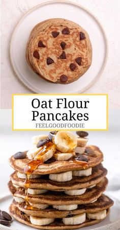 Chocolate Chip Banana Oat Pancakes made using oat flour instead of traditional all-purpose flour for a gluten-free sweet variation for brunch Healthy Brunch Breakfast Ideas Healthy Pancakes pancakes chocolate brunch breakfast feelgoodfoodie Oat Flour Pancakes, Banana Oat Pancakes, Banana Oats, Healthy Banana Pancakes, Banana Flour, Gluten Free Pancakes, Healthy Brunch, Healthy Breakfast Recipes, Healthy Snacks