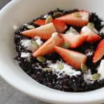 Breakfast Black Rice Porridge with Coconut Cream