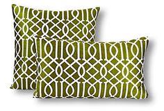 S/2 Ali Pillows, Green on OneKingsLane.com