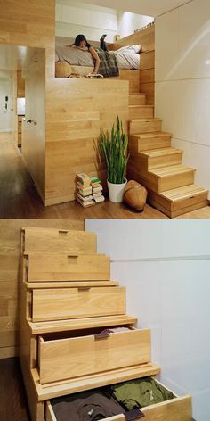 Basta veramente poco per trasformare un ambiente. Guarda queste 18 idee - Smart House - Ideas of Smart House - Small Spaces Big Design! Many ideas for tiny home organization and design. Click through for the full scoop. Big Design, Loft Design, Tiny Spaces, Small Apartments, Open Spaces, Modern Loft, Modern Living, Bedroom Loft, Bedroom Storage
