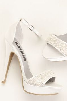 28f479873065e1 White by Vera Wang satin platform sandals featuring an  ankle-strap nbsp with pearl and crystal embellishments across the vamp. Heel  height  with platform.