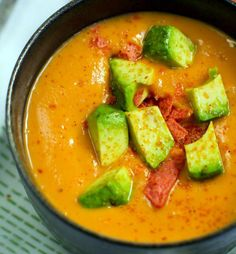 sweet potato chipotle soup with avocado