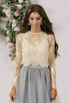 All of your favorite maxi skirts have met its match with our new ivory longsleeve lace top! This top is flirty, feminine, and so flattering when paired with our best selling Amelia Full Maxi Skirts or
