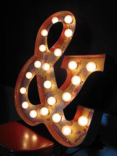 24inch distressed custom light-up marquee letter. $150.00, via Etsy.