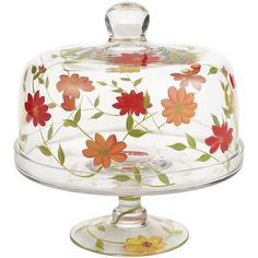 Pier One Summer Floral Cake Stand with Dome - Pier 1 Imports - Polyvore