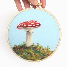 I found this toadstool piece hiding under a foam pad! 🙈(I will never claim to be super organized.😂) I just added it to my shop. ☺️ #paintingwithwool #needlefelting
