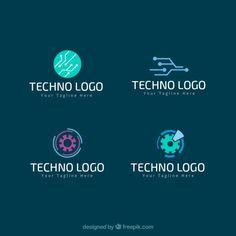 Techno logos pack Free Vector