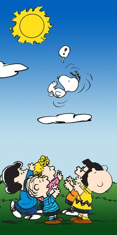 Description: Snoopy is flying high in the sky while the rest of the Peanuts gang waits to catch him. This vertical formatted canvas art is brightly colored and would make a welcome addition to a child