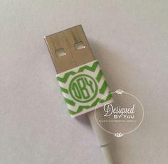 USB CORD Chevron Monogram Wrap by DBYDesignedByYou on Etsy
