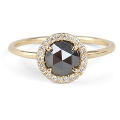 Black Diamond Aura Ring ($2,050) ❤ liked on Polyvore featuring jewelry, rings, pave diamond ring, 18k jewelry, black diamond ring, 18k ring and stackable rings
