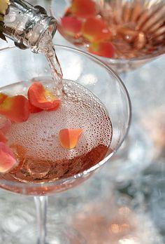 rose petals floating in rosé sparkling wine. Photo: Alison Rosa.