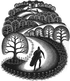 "My favorite wood cut of Virginia Lee Burton:  ""Robin Hood Rescuing the Three Squires"""