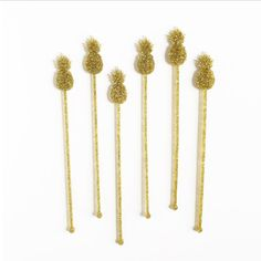 Drink Stirrers: Gold Glitter Pineapples