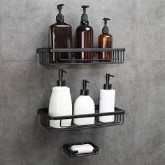 Gricol Shower Shelf No Drilling Space Aluminum Wall Mounted Rectangle Storage Organiser Self Adhesive Shower Caddy Basket with Soap Sponge Holder for Bathroom Kitchen 2 Tiers (Black). It can load up to Bathroom Shower Organization, Bathroom Rack, Bamboo Bathroom, Concrete Bathroom, Organize Kitchen Spices, Kitchen Spice Racks, Shower Rack, Shower Tub, Standing Shower