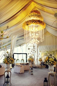 Romantic Wedding Ideas We Love: Wow! That will never happen, but very pretty.Floral Chandeliers for the Reception Romantic Wedding Decor, Gold Wedding Decorations, Reception Decorations, Event Decor, Wedding Flowers, Wedding Ideas, Reception Ideas, Wedding Receptions, Fall Wedding