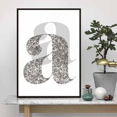 a Letter  Scandinavian Design Poster Nordic by TypoArtQuotes