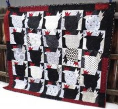 Black white red chicken quilt