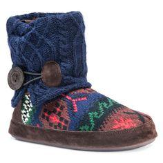 Women's Muk Luks Patti Fair Isle Sweater Knit Bootie Slippers - Dark Blue L, Size: Large