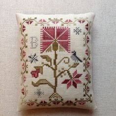 Cross Stitch Hand Made Finished Ornament Blackbird Designs: Peace Rose