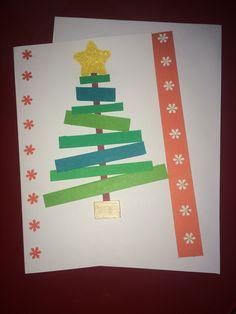 Scrapbook paper and wood DIY christmas card