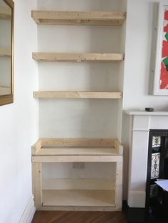 Fantastic Pic small Fireplace Remodel Tips New Free Fireplace Remodel with tv Concepts DIY alcove cupboard with shelves Alcove Storage, Alcove Shelving, Built In Shelves, Floating Shelves, Alcove Cupboards, Diy Cupboards, Cupboard Shelves, Alcove Ideas Living Room, Living Room Designs