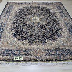 9x12foot (274x366cm) Hand Knotted Silk Carpet | harry@camelcarpet.com #handmadesilkcarpet #persiancarpet #turkishcarpet