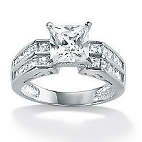 2.42 TCW Princess-Cut Cubic Zirconia 10k White Gold Engagement Anniversary Ring
