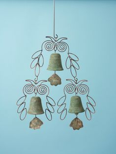Triple Owl Hanging Green. Add a bit of whimsy to your garden or patio with these ceramic and wire owl/bell ornaments. $47.23