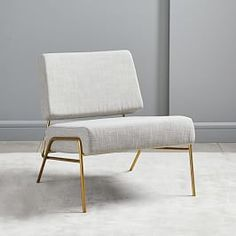 Wire Frame Slipper Chair - several different colors and fabric options.the brass/gold legs on this chair are perfect! Navy for a pop of color, or even pink. Small Furniture, Living Room Chairs, Living Room Furniture, Home Furniture, Cheap Furniture, Living Rooms, Luxury Furniture, Discount Furniture, Furniture Websites