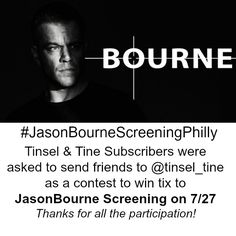 This was an Instagram contest. Be sure to Subscribe to Tinsel & Tine's newsletter for future offers.    Matt Damon in Universal Pictures JASON BOURNE hits theaters Friday, July 29, 2016