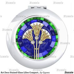 Art Deco Stained Glass Lilies Compact Mirror