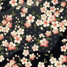 Chiyogami or yuzen paper - pretty waves of pink cherry blossoms on black by pebblestonepapery Japanese Textiles, Japanese Patterns, Japanese Prints, Japanese Paper, Japanese Fabric, Japanese Origami, Decoupage, Textile Patterns, Print Patterns