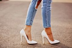 High heels with slim jeans