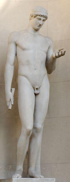 ATHLETE DE STEPHANOS/ Copie d'élève de l'école de PASITELES (90AC) / tête de style sévère (-480) et corps du 2ème classicisme -> romains avaient un goût pour l'éclectisme, le mélange des périodes de la sculpture grecque