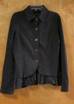 CYNTHIA ROWLEY Jacket Women's Size M with ruffle detail Career #CynthiaRowley #softjacket