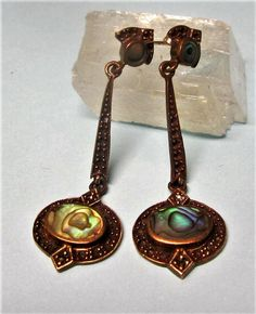 Abalone and Copper Tone Metal Dangle Earrings, Pierced Earrings, Vintage 1980s Boho by letsreminisce on Etsy