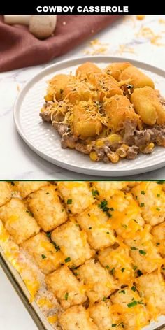 This easy and cheesy cowboy casserole recipe is a simple, hearty casserole with ground beef, veggies, spices, crispy tater tots and lots of cheese. Hotdish Recipes, Turkey Casserole, Veggie Casserole, Healthy Casserole Recipes, Healthy Crockpot Recipes, Cooking Recipes, Recipe For Cowboy Casserole, Recipes For Casseroles, Casseroles With Chicken