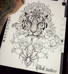 Do you also want a flower tattoo to show yourself? Check out the most beautiful flower tattoo we have prepared for you! We hope to give you the greatest inspiration. Animal Thigh Tattoo, Lion Back Tattoo, Lion Tattoo On Thigh, Tiger Tattoo Sleeve, Flower Thigh Tattoos, Back Tattoo Women, Animal Tattoos, Sleeve Tattoos, Elephant Tattoo On Thigh