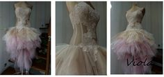 VIOLA powder pink and beige prom dress Tulle by AtelierArtistia