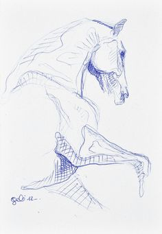 Sketch 181 OOAK Canter Horse Blue ballpoint pen by benedictegele, €15.00
