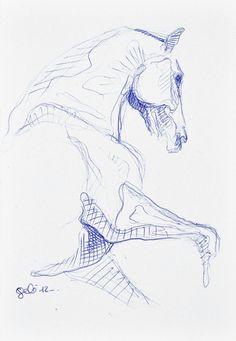 Sketch 181 OOAK Canter Horse Blue ballpoint pen by benedictegele, €15.00