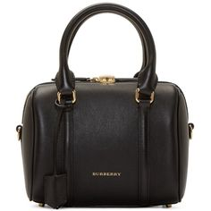 Burberry London Black Leather Small Alchester Bag (8,405 CNY) ❤ liked on Polyvore featuring bags, handbags, shoulder bags, black duffel bag, black purse, black duffle bag, leather duffle and black leather handbags