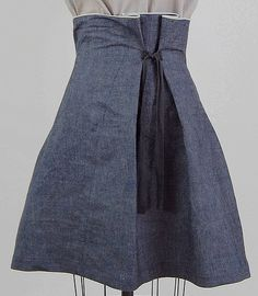 fold neck blouse & denim tie skirt slightly stiff denim to hold a bell shape, raw selvage edge at waist. Diy Clothing, Sewing Clothes, Clothing Patterns, Dress Patterns, Sewing Patterns, Tie Skirt, Dress Skirt, Denim Skirt, Box Pleat Skirt