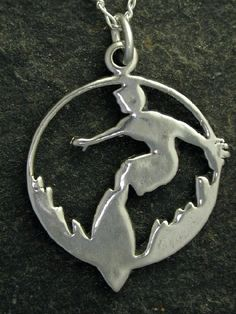Sterling Silver Large Surfer Pendant on a Sterling by peteconder, $54.00