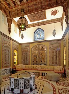 Maybe Beit Aqqad in souk al Souf An old house - Damascus. On second look it could be Opaline house turned restaurant. Islamic Architecture, Art And Architecture, Architecture Details, Futuristic Architecture, Moroccan Design, Moroccan Decor, Moroccan Furniture, Naher Osten, Doris Duke