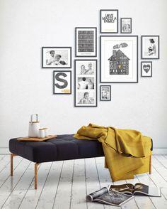 muurcollage met foto's en tekst posters in zwart wit