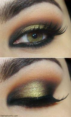 Golden smokey eyes makeup inspiration
