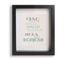 Hello in French Art Print  nursery decor educational by DropPin
