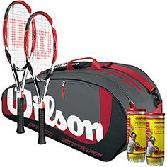 The Wilson Club Player Bundle includes two strung K Factor K Bold tennis racquets, a Pro Staff Six Pack tennis bag, and two cans of Championship extra duty tennis balls.